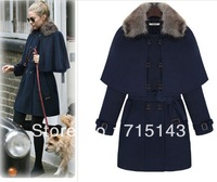 2013 autumn and winter new European and American women's fashion belt fur collar woolen cape coat winter coat jacket 1612 models