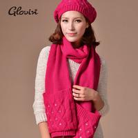 free shipping women warm fleece gloves scarf hat set  knit flower yarn plus female hat scarf gloves crystal insert hat scarf set