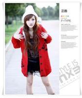 2014 Korean version of loose big yards coat long paragraph plus thick velvet hooded sweater knitting coat female