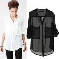 Fashion Women Basic Chiffon Blouses Sheer Tops Casual Foldable Sleeve Loose Shirts Blouse