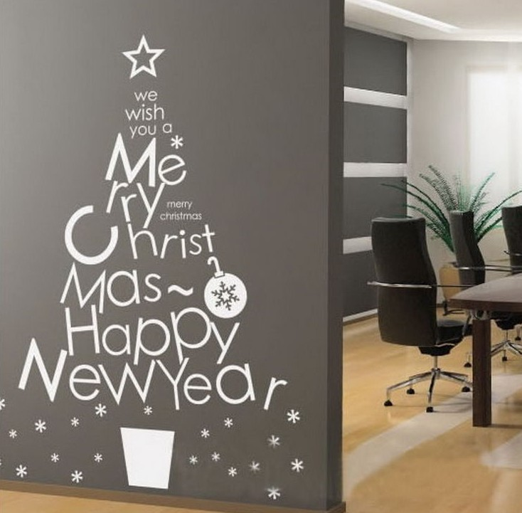 """ Christmas New Year Tree Snowflake "" Wall Decal Art Sticker Free Shipping(China (Mainland))"
