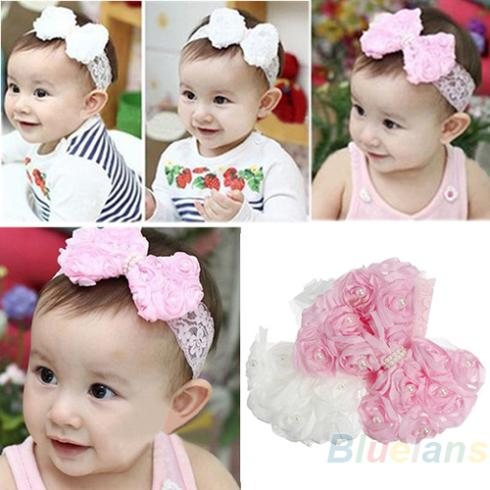 Cute Baby Girl Kid Toddler Pearl Headband Headwear Hat Accessories Rose Bow Lace Hairband Flower Headdress 1NLS(China (Mainland))