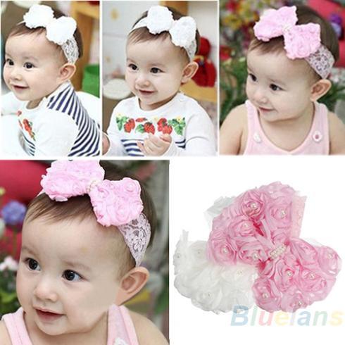 Cute Baby Girl Kid Toddler Pearl Headband Headwear Hat Accessories Rose Bow Lace Hairband Flower Headdress(China (Mainland))