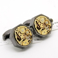 Watch  Cufflinks ,Black shell and gold  movement octagonal watch cufflinks.800936  men jewelry