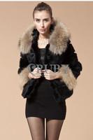 EMS Free Shipping 2013 Natural Rabbit Fur Coat Women Lady Real Raccoon Fur Collar Hooded Overcoat Genuine Rabbit Fur Jacket PC10