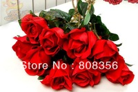 """HOT 10Pcs 55cm/21.65"""" Length Artificial Flowers Simulation Single Rose Sweet Red Roses for DIY Bride Bouquet Home Decoration"""