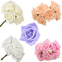 10pcs / set de belleza nupcial Bouquet Rose Partido Mano Cabeza de flor de la boda de dama de honor Decoración Posy Latex 1NNG(China (Mainland))