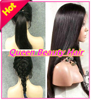 Freeshipping silky straight lace front wigs/glueless full lace wig virgin peruvian human hair wigs with baby hair bleached knots