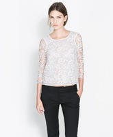 New Ladies Sweet Floral Lace Blouse Woman Fashion Shirt SW5004-G04