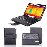 Black Removable Wireless Bluetooth Keyboard PU Leather Case Stand Cover For Samsung Galaxy Note 10.1 2014 Edition P600 P601