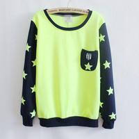 2013 Women Fashion Autumn Winter New Arrive Sweatshirts Big Star Mix Color Fleece Inside Ladies Hoodies Warm Outwear