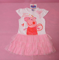 Christmas Promotional Short  Sleeve Baby Peppa Pig Dress Girl Peppa Pig Clothes Kids Dress