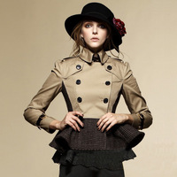 2013 Fashion Autumn And Winter Women British Style Classic Tweed Fabric  Double Breasted Trench