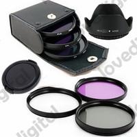 72mm UV CPL FLD Filter Lens Kit  + Flower Petal Lens Hood for Canon T4i T3i T3 60D 7D 5D Mark III 18-200mm