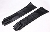 2013 Women's faux leather long gloves ultra long belt long design fashion women's leather gloves women 50cm free shipping