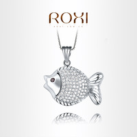 ROXI  Exquisite Little fish necklace platinum plated with CZ diamonds,fashion Environmental Micro-Inserted Jewelry,103027948