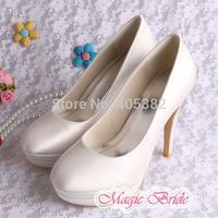 Hot Selling Bridal Wedding Shoes Double Platform Ladies Plus Size White Satin Closed Toe Dropship