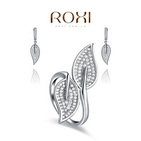ROXI bridal jewelry Set platinum plated with AAA zircon,modelling of Long leaves,FREE SHIPPING,Micro-Inserted Jewelry,1070191782
