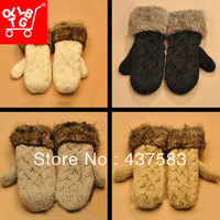 new 2013 twisted Fur splicing women's winter handmade knitted thickening thermal halter-neck yarn gloves