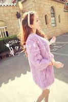 2014 new winter women medium-long rabbit fur o-neck three quarter sleeve fur coat fur overcoat  Y2P3