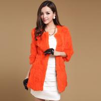2014 new  autumn and winter  women rabbit fur women's three quarter sleeve medium-long outerwear Y2P4