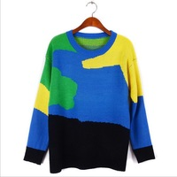 Hot sale 2014 winter Stripe color stitching Loose big yards Long sleeve knit Sweater woman Fashion falbala Pullover woman