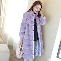 2014 new winter women rabbit hair fur coat long paragraph ultra plus size full leather rabbit fur overcoat stand collar Y2P5