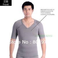 ZEROBODYS slim in lift Mens Body Shaper T-Shirt MEN'S SLIMMING SHORT SLEEVE BODY SCULPTING SHAPER (White / black / gray 349)