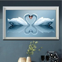 Precision printing 3D cross stitch kits for embroidery kits Swan chinese cross stitch  kit printed set for cross stitch pattern
