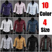 2014 fashion long sleeve men shirt blusas plus size cardigan button shirt clothing for men slim fit Free shipping