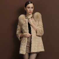 2013 full leather rabbit fur coat fox fur female slim medium-long lj8848
