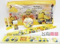 2014 hot sale discable me stationery set minion pencil box a set =7 items (ruler+3 pencils+eraser+Pencil sharpener+box)