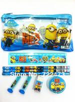 Despicable me Students of cartoon stationery suit (zipper pen bag,  wooden pencil, pen cap,  ruler , pencil sharpener, eraser)