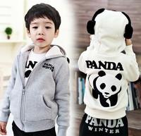 Free shipping 5pcs/ lot Children Winter Jacket Hoodies Panda design boys girls lovely Warm winter Hooded Jacket coat 2-5Y