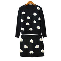 2015 autumn winter women flower knitted sweatshirt short skirt set daisy flower chrysanthemum skirt plus size women suit