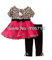 Retail Free shipping 2014 New Arrival girl clothing set,hello kitty girl leopard dress + pants set,girl dresses,girl pants