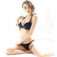 New Arrival 2 pcs  Women's Bikinis Super Hot Swimwear  Bikinis Victoria Black Strappy Sexy Leopard Beachwear Size S,M,L YY110