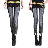 Free Shipping Autum Fashion Vintage Women Stretchy Leggings Pants Leg Warm 2pcs D002