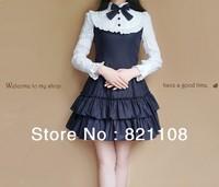 Free shipping women long sleeves Gothic lolita shirt dress bow school retro new
