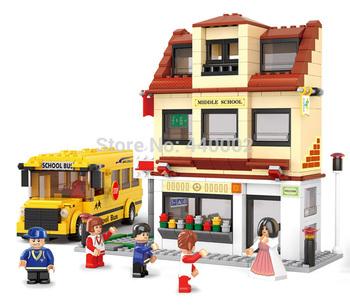 10pcs/Lot Building blocks set school bus educational plastic toy with assembles particles puzzle game