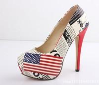 Large size us 9 10 11 12 CN 41 42 43 44  Star Strap sexy US American flag high heels platform pumps women shoes 2013