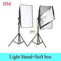 Photography Rectangle Continuous SoftBox Lighting Kit 2pcs 50x70cm Softbox +2pcs Light Holder Stand Photo Studio Equipment Set