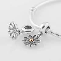 European Stamped 925 Sterling Silver Gerbera Daisy Screw Dangle Charm Bead, Suitable for Pandora Bracelet DIY Making LW292