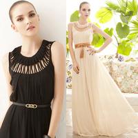New Arrival silk chiffon banquet fashion star design slim long evening form dress