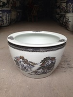 Beautiful Jingdezhen White Snow Ceramic large Fish Bowls Planter Pots