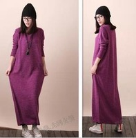 Autumn winter women's casual loose oversize ankle length knitted dress  maxi sweater dress maxi coat  plus size S-XXL  4 color