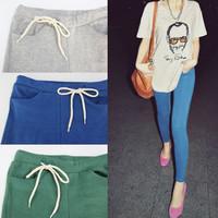 plus size  Autumn Women Pants Fashion Sports Loose Pants Candy Color Lacing Pocket Ankle Length Trousers Leggings Faux