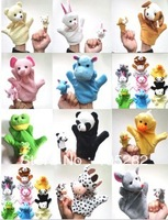 Wholesale retail (30pcs/lot) baby children's biger hand puppet + finger puppet Cartoon Animal Finger Doll toy Xmas gift freeship