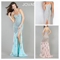 High Quality Beaded Evening Dresses Sexy Mermaid/Trumpet Party Prom Dress Fashion Dress Long Chiffon Dress 001