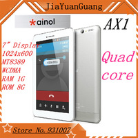 "7"" Ainol AX1 3g phone call tablet pc MTK8389 quad core 1GB RAM 8GB ROM support GSM GPS Bluetooth FM webcam All in one android"